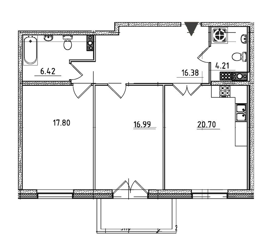 2-комнатная 84 м<sup>2</sup> на 7 этаже