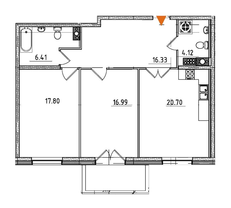 2-комнатная 83 м<sup>2</sup> на 8 этаже