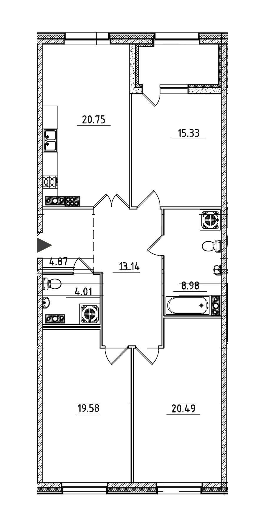 3-комнатная 109 м<sup>2</sup> на 7 этаже