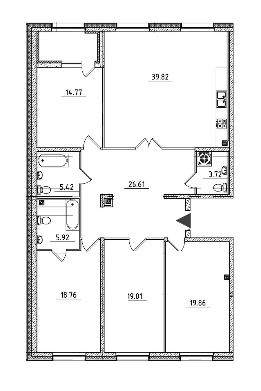 3-комнатная 156 м<sup>2</sup> на 2 этаже