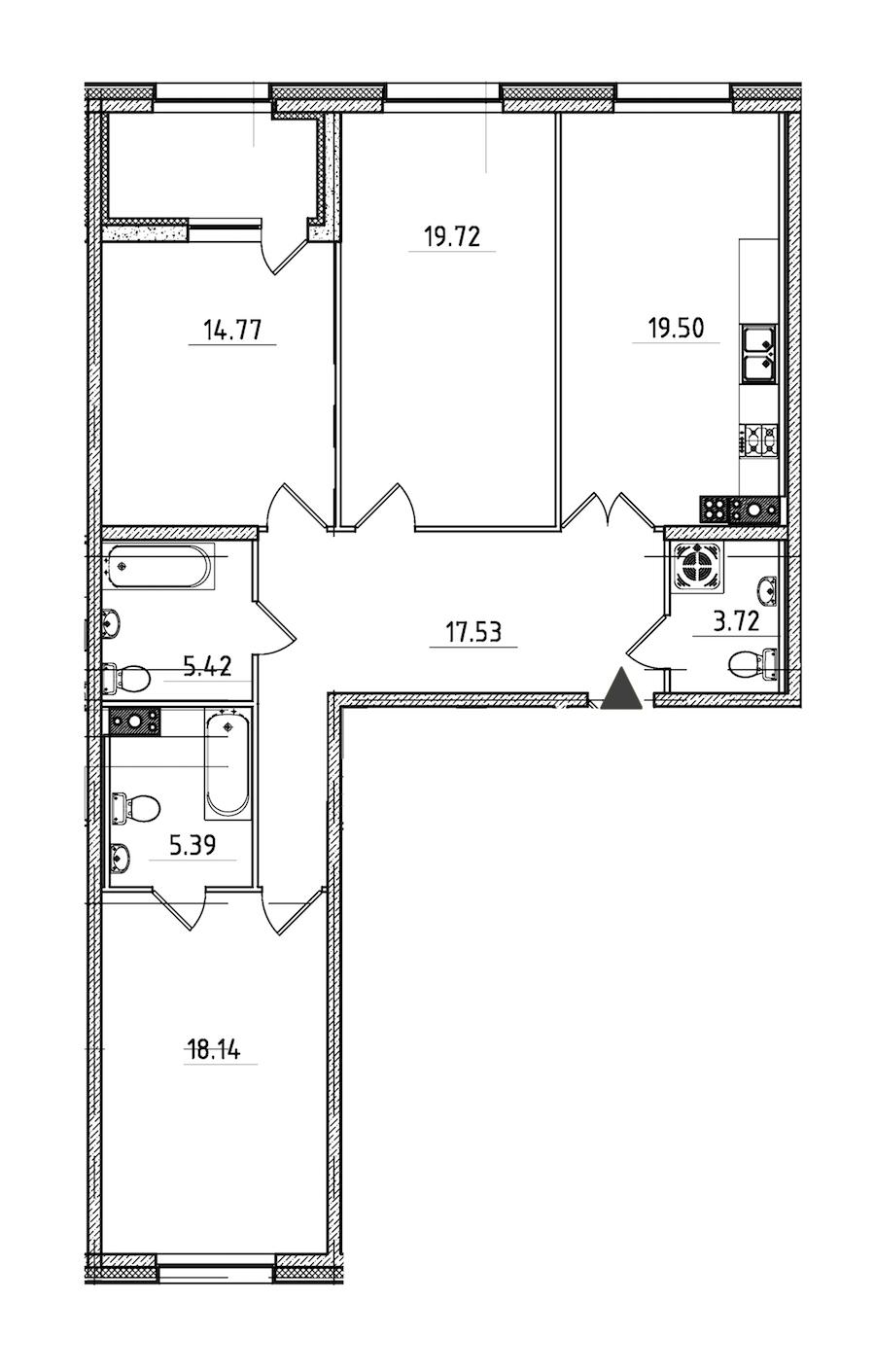 3-комнатная 106 м<sup>2</sup> на 5 этаже