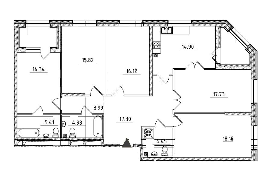 5-комнатная 137 м<sup>2</sup> на 2 этаже