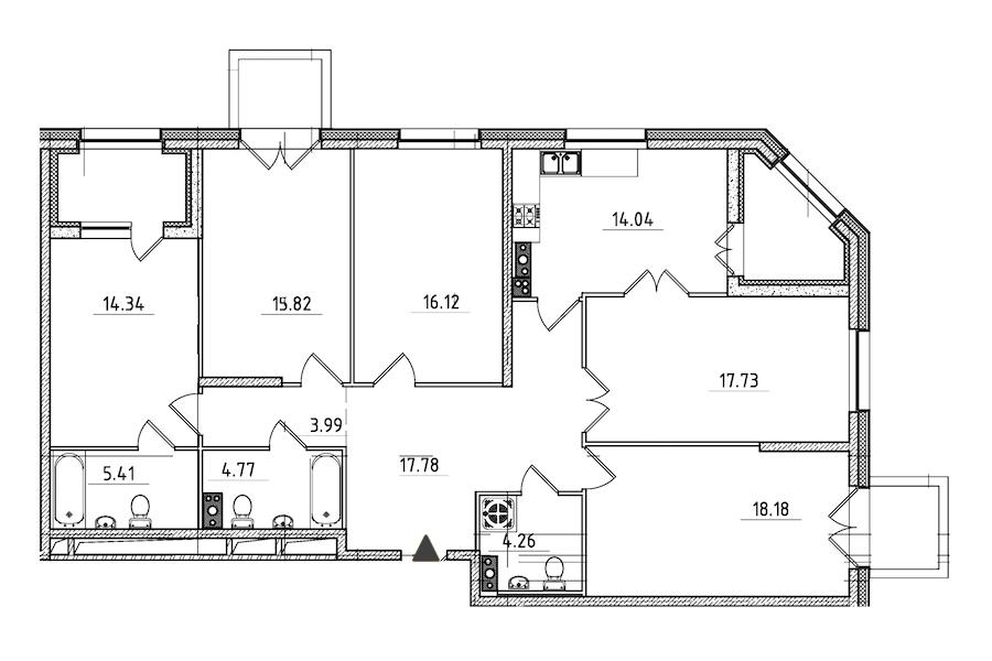 5-комнатная 138 м<sup>2</sup> на 4 этаже