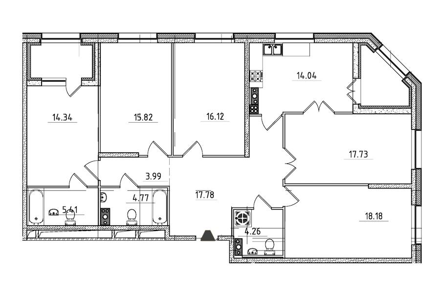 5-комнатная 136 м<sup>2</sup> на 5 этаже