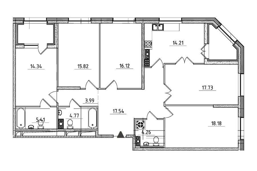 5-комнатная 136 м<sup>2</sup> на 7 этаже
