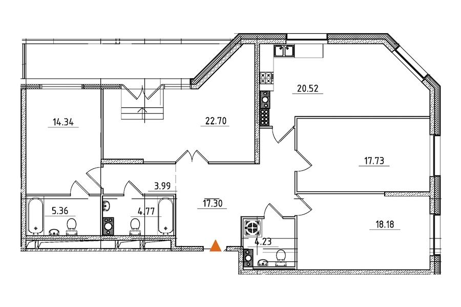 4-комнатная 132 м<sup>2</sup> на 9 этаже