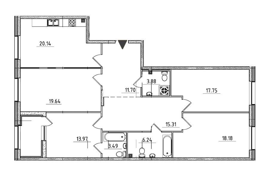4-комнатная 132 м<sup>2</sup> на 2 этаже