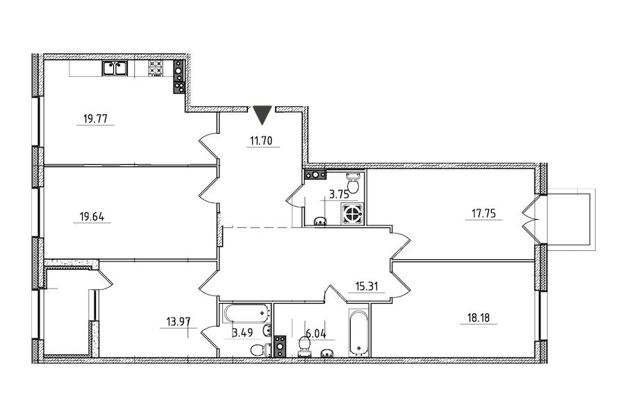 4-комнатная 132 м<sup>2</sup> на 4 этаже