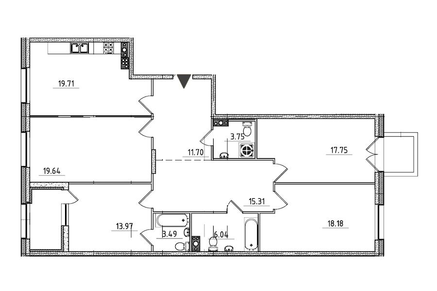 4-комнатная 132 м<sup>2</sup> на 6 этаже