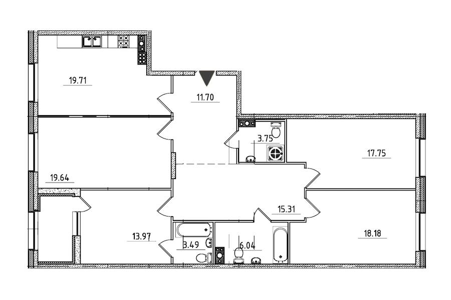 4-комнатная 131 м<sup>2</sup> на 7 этаже