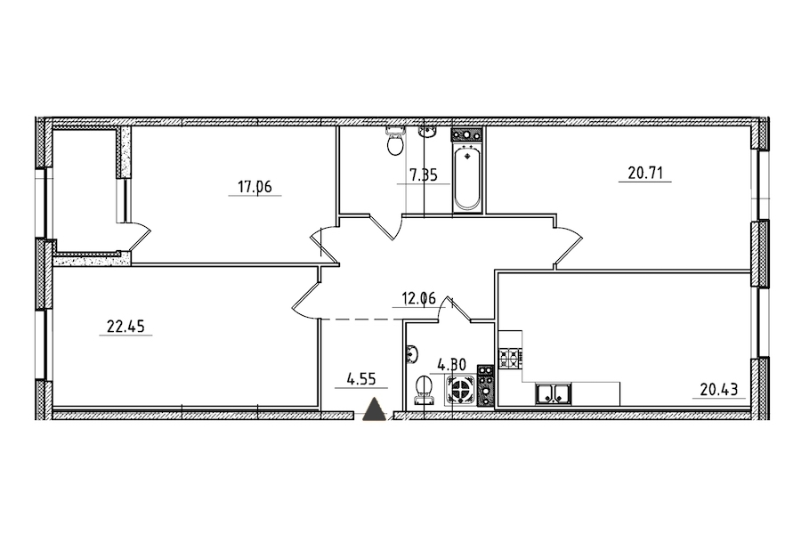 3-комнатная 111 м<sup>2</sup> на 3 этаже