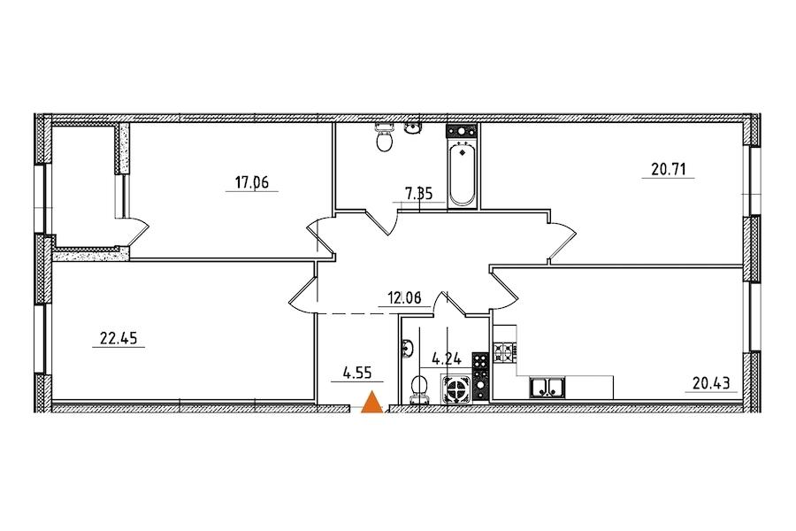 3-комнатная 111 м<sup>2</sup> на 5 этаже