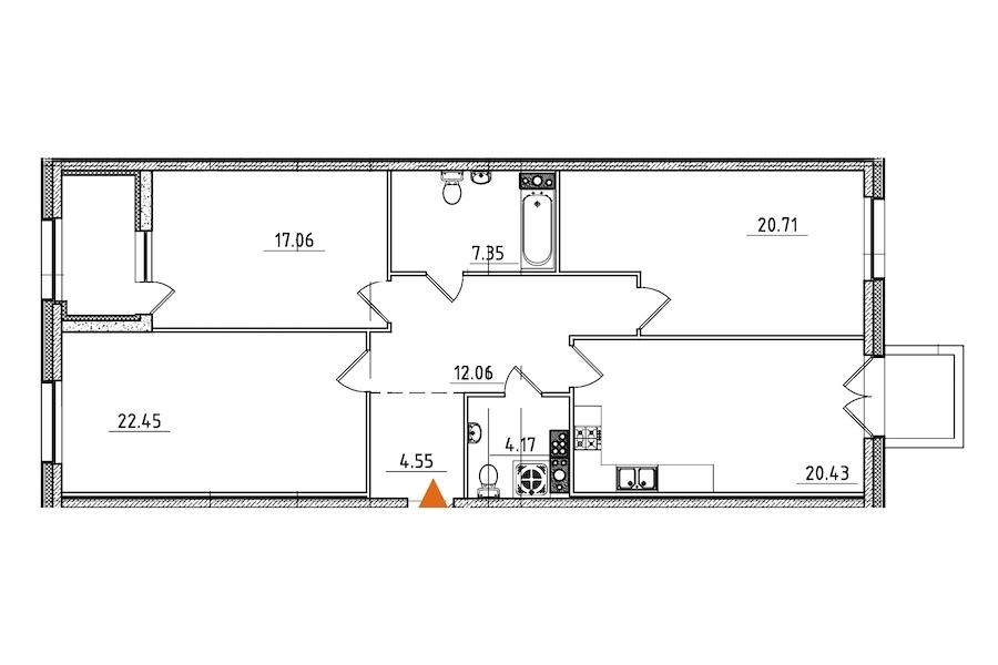 3-комнатная 111 м<sup>2</sup> на 6 этаже
