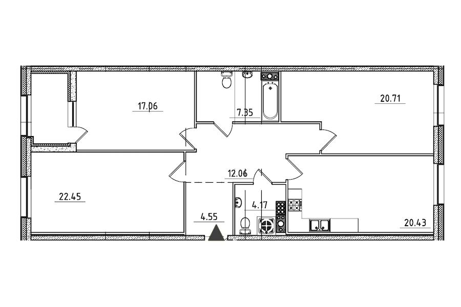 3-комнатная 111 м<sup>2</sup> на 7 этаже