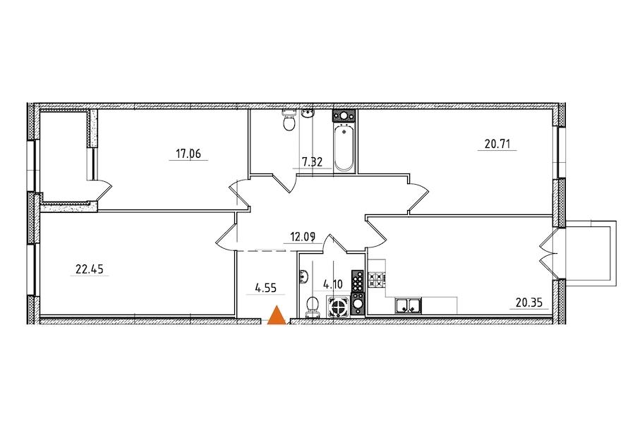 3-комнатная 111 м<sup>2</sup> на 8 этаже