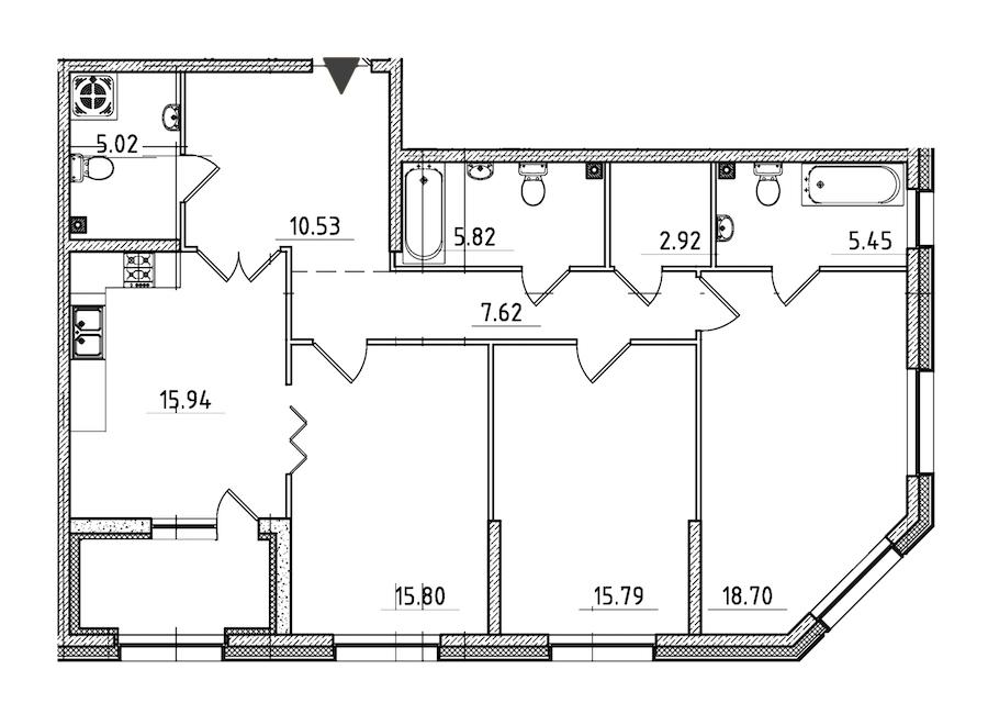 3-комнатная 106 м<sup>2</sup> на 2 этаже