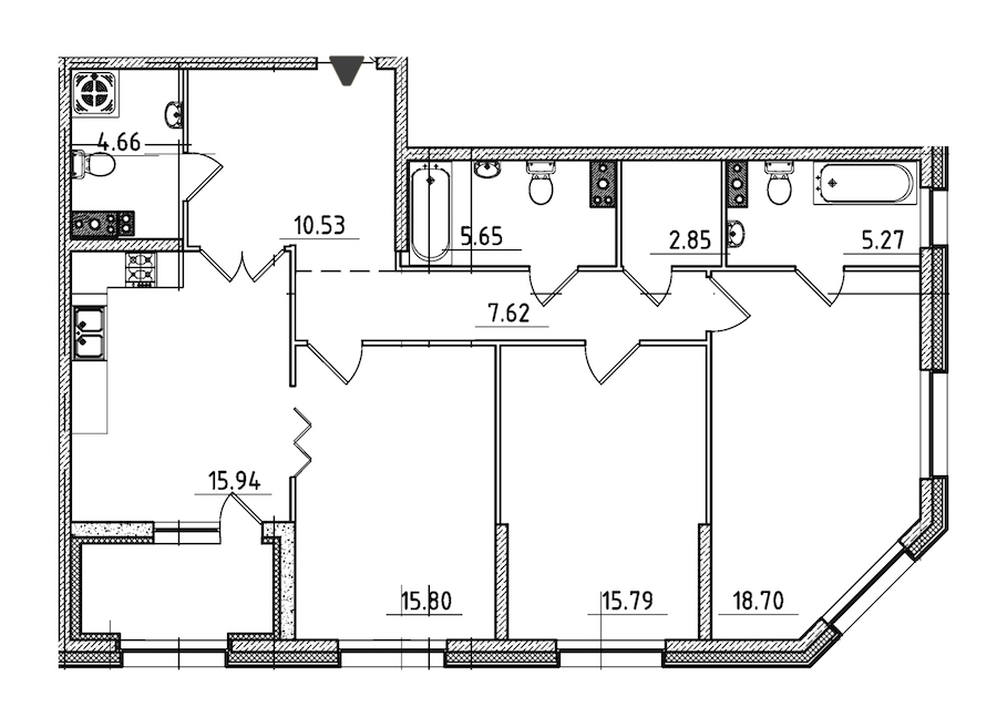 3-комнатная 105 м<sup>2</sup> на 3 этаже