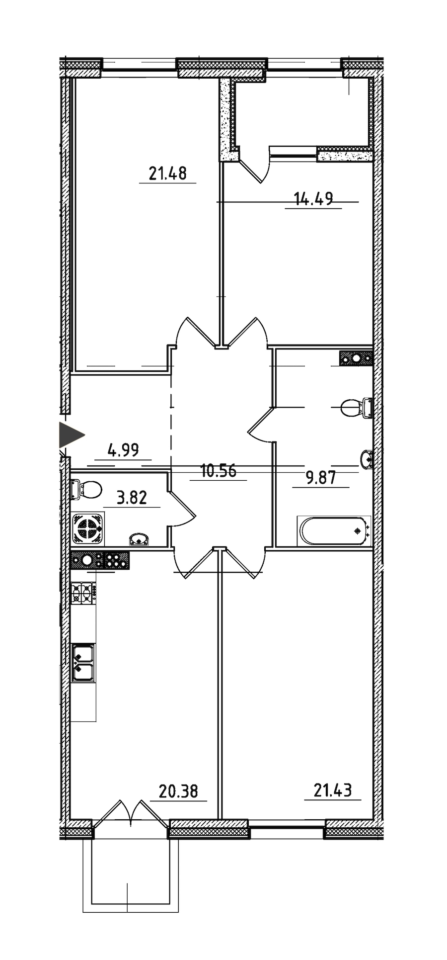 3-комнатная 110 м<sup>2</sup> на 6 этаже