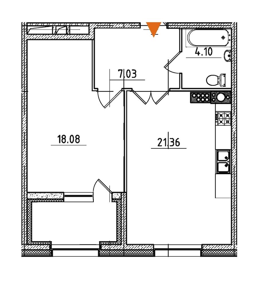 1-комнатная 53 м<sup>2</sup> на 8 этаже