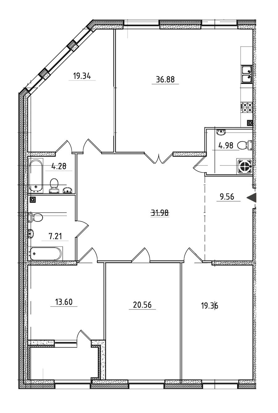 4-комнатная 170 м<sup>2</sup> на 2 этаже
