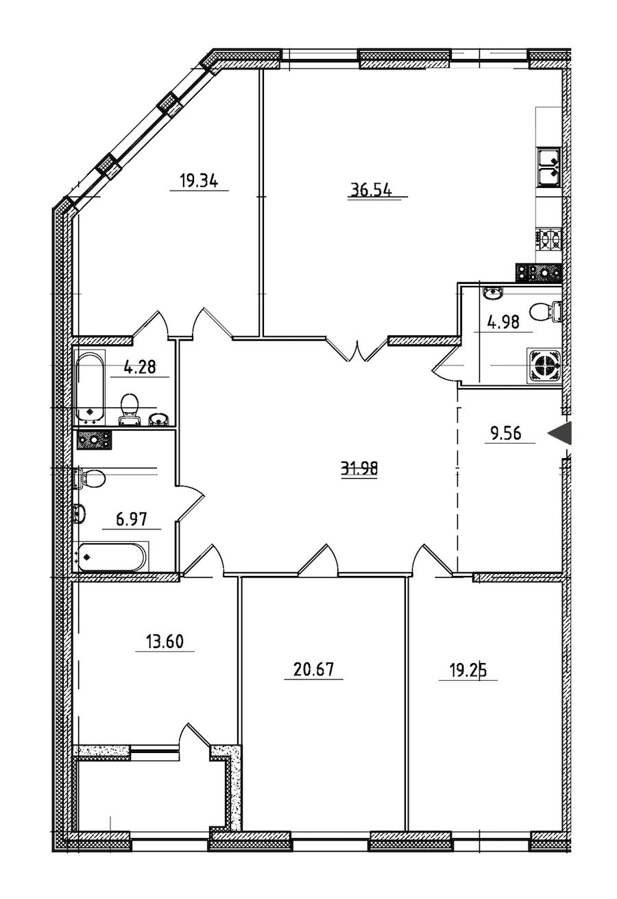 4-комнатная 169 м<sup>2</sup> на 3 этаже