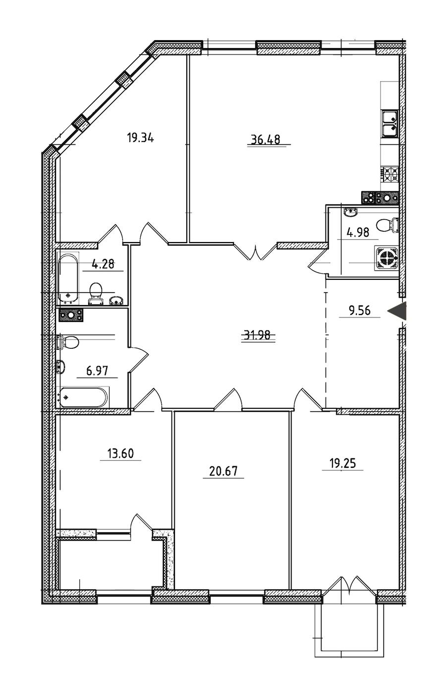 4-комнатная 170 м<sup>2</sup> на 4 этаже