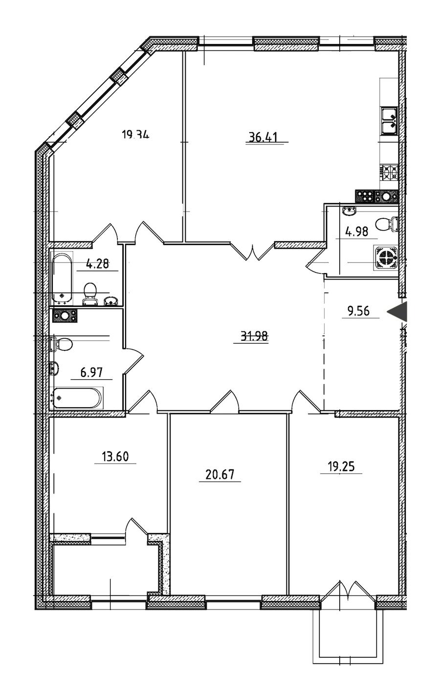 4-комнатная 170 м<sup>2</sup> на 6 этаже
