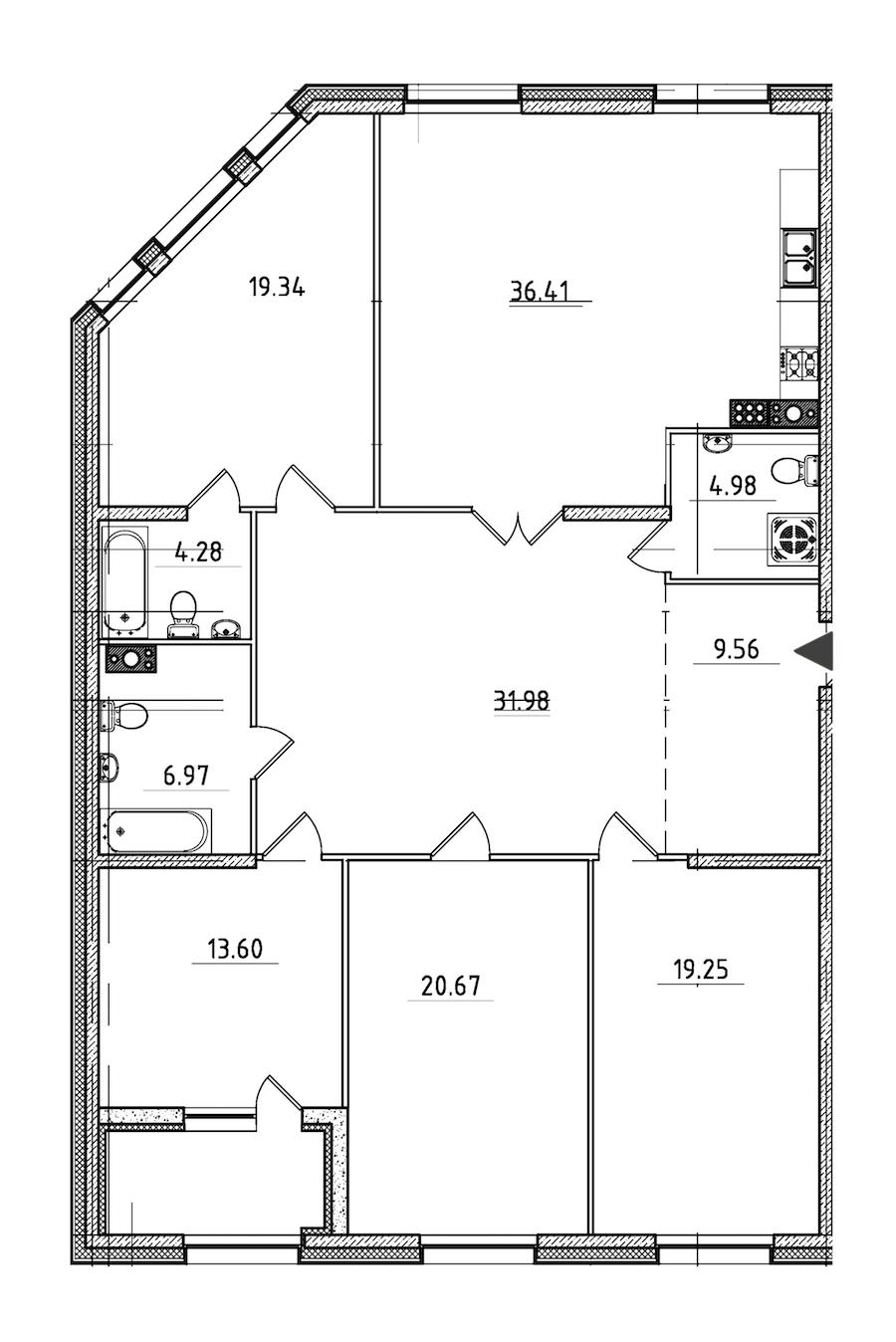 4-комнатная 169 м<sup>2</sup> на 7 этаже