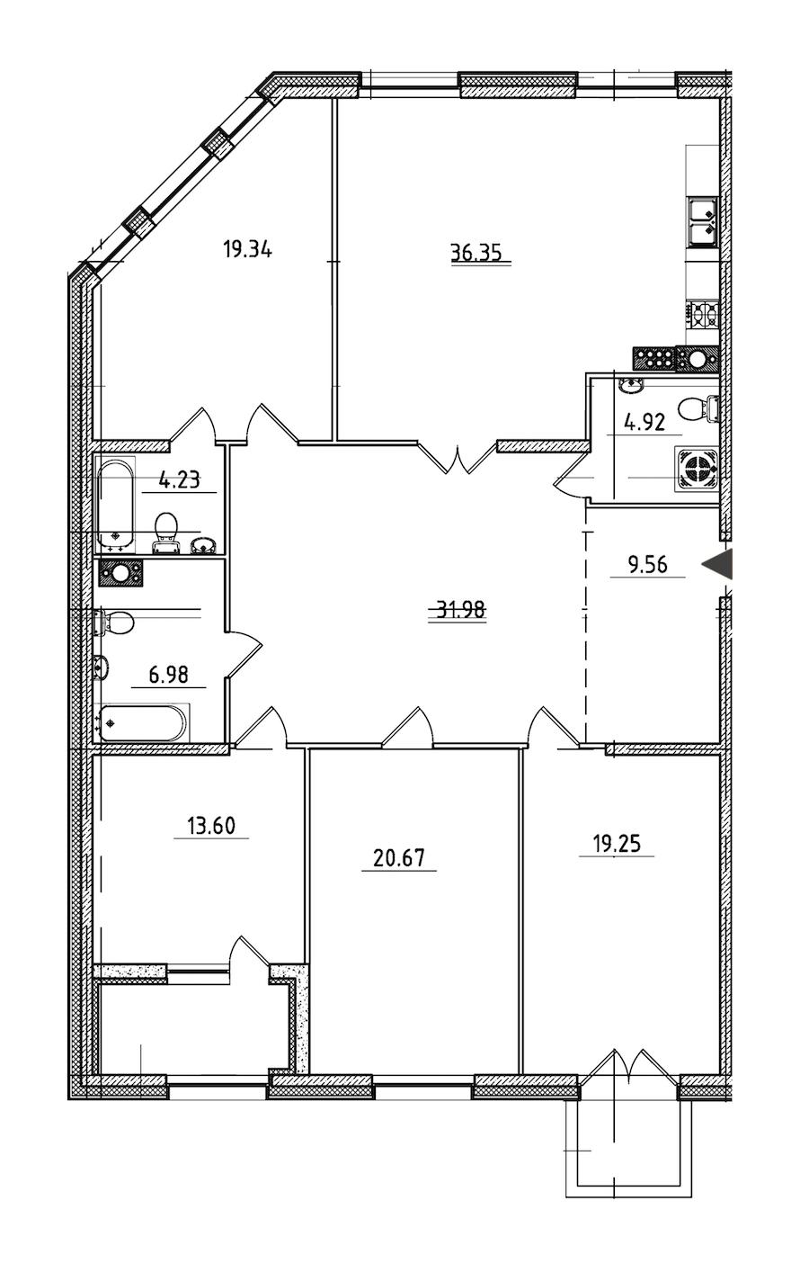 4-комнатная 170 м<sup>2</sup> на 8 этаже