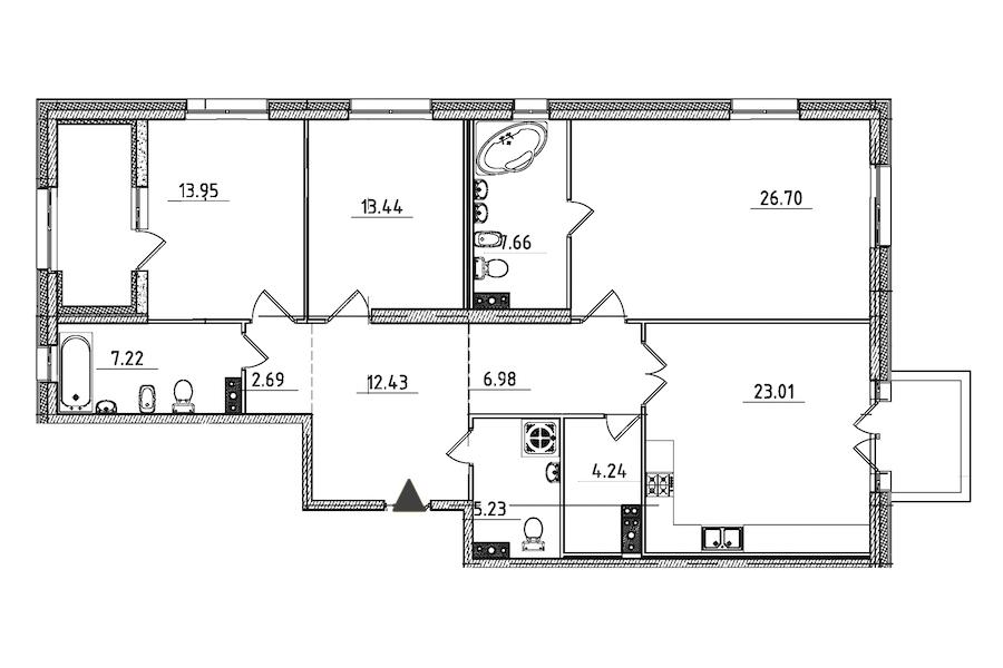 3-комнатная 127 м<sup>2</sup> на 3 этаже