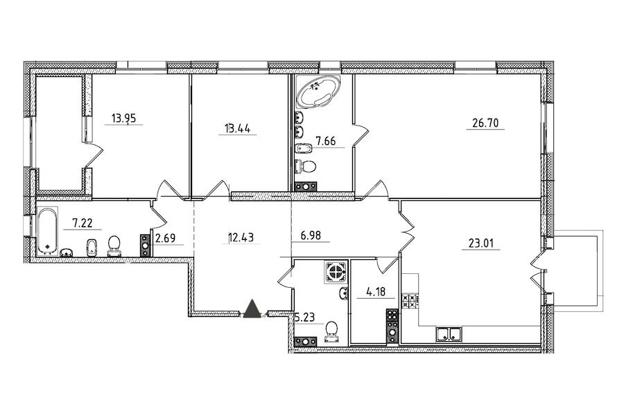 3-комнатная 127 м<sup>2</sup> на 5 этаже