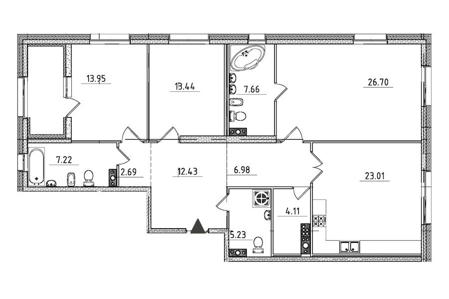 3-комнатная 126 м<sup>2</sup> на 6 этаже