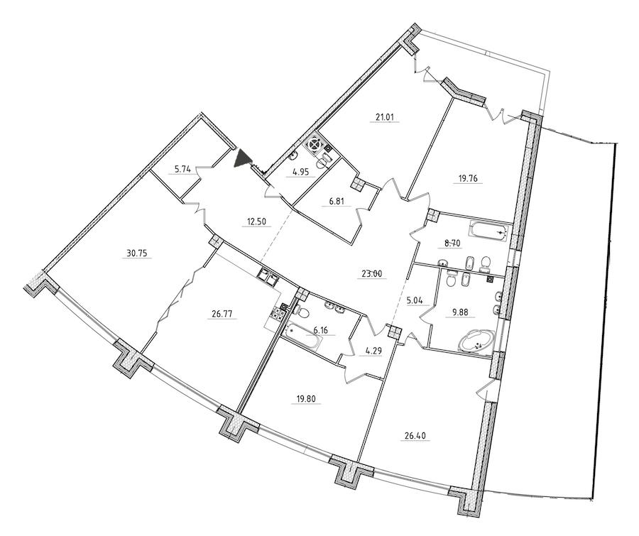5-комнатная 254 м<sup>2</sup> на 2 этаже