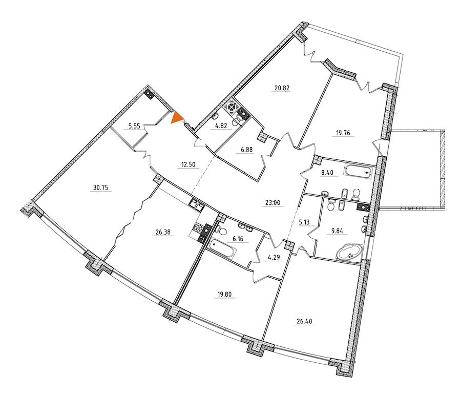 5-комнатная 248 м<sup>2</sup> на 4 этаже
