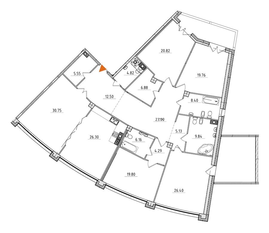 5-комнатная 250 м<sup>2</sup> на 6 этаже