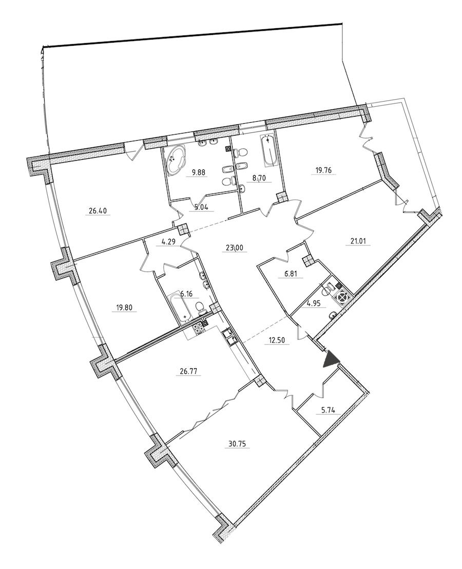 5-комнатная 258 м<sup>2</sup> на 2 этаже