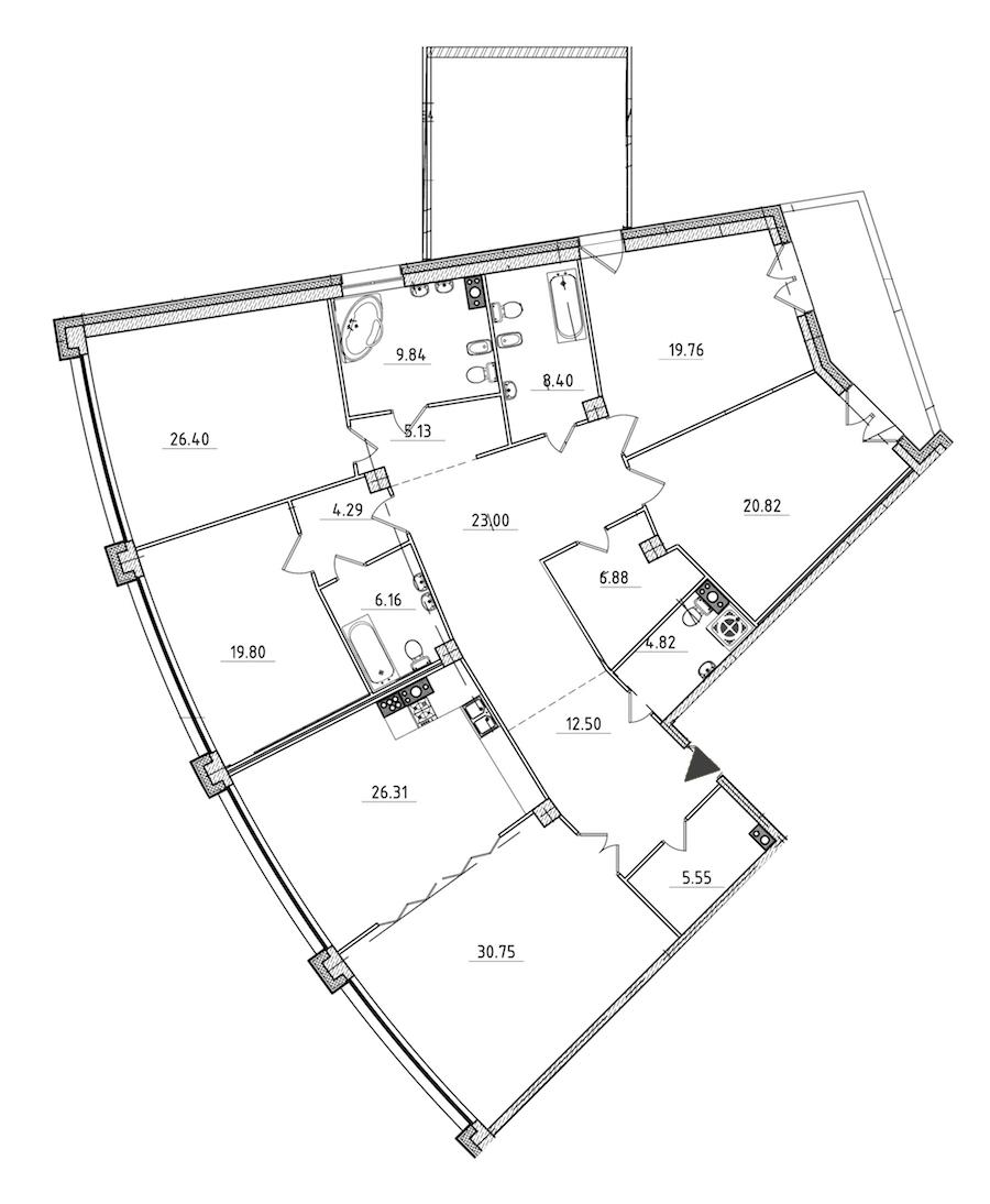 5-комнатная 253 м<sup>2</sup> на 6 этаже