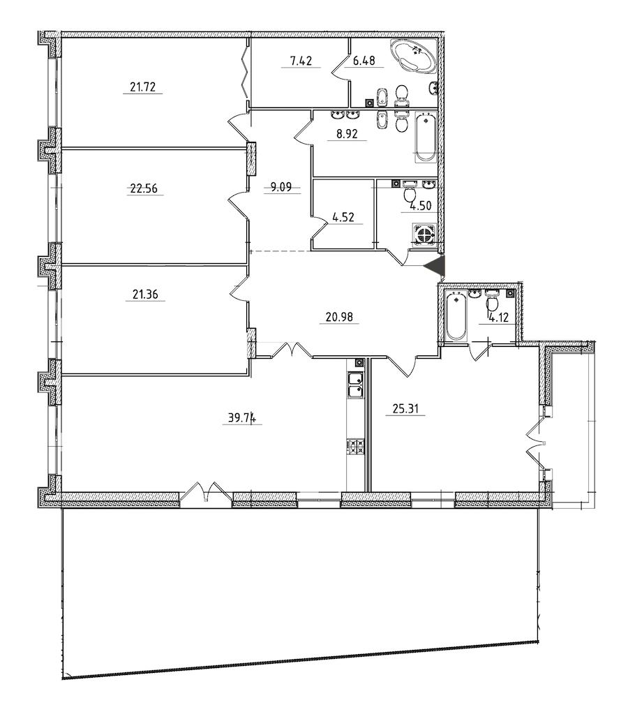 4-комнатная 222 м<sup>2</sup> на 2 этаже