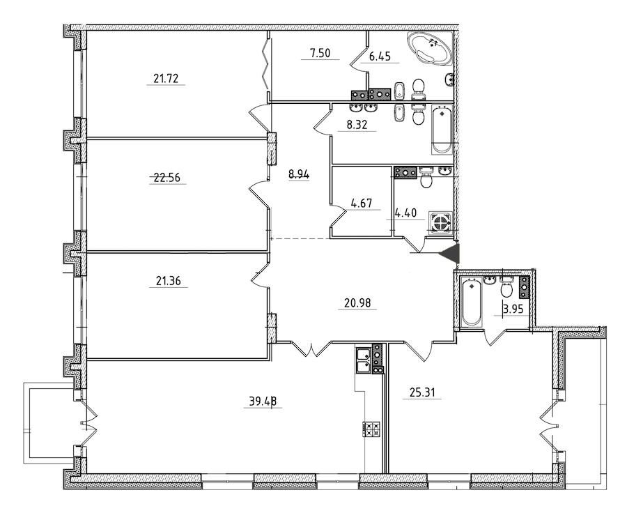 4-комнатная 198 м<sup>2</sup> на 3 этаже