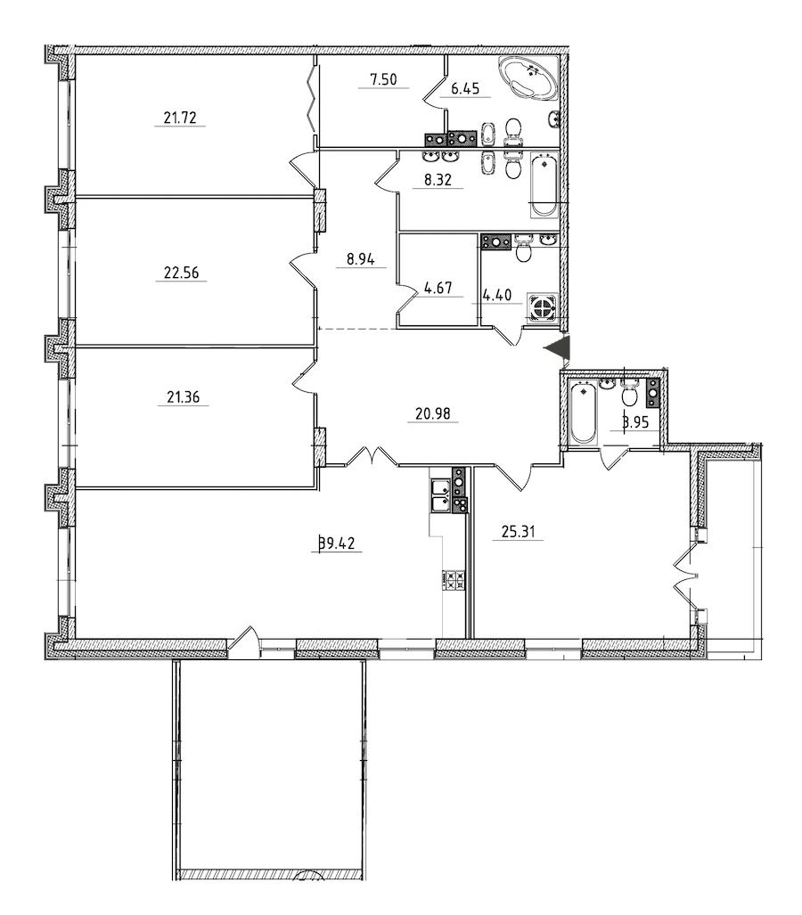 4-комнатная 221 м<sup>2</sup> на 4 этаже