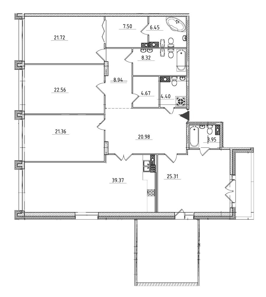 4-комнатная 219 м<sup>2</sup> на 6 этаже