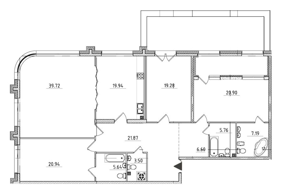 4-комнатная 184 м<sup>2</sup> на 2 этаже