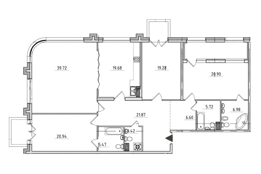 4-комнатная 177 м<sup>2</sup> на 3 этаже