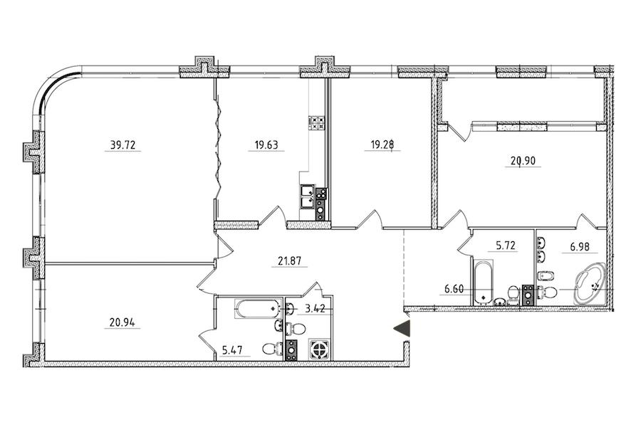 4-комнатная 175 м<sup>2</sup> на 4 этаже