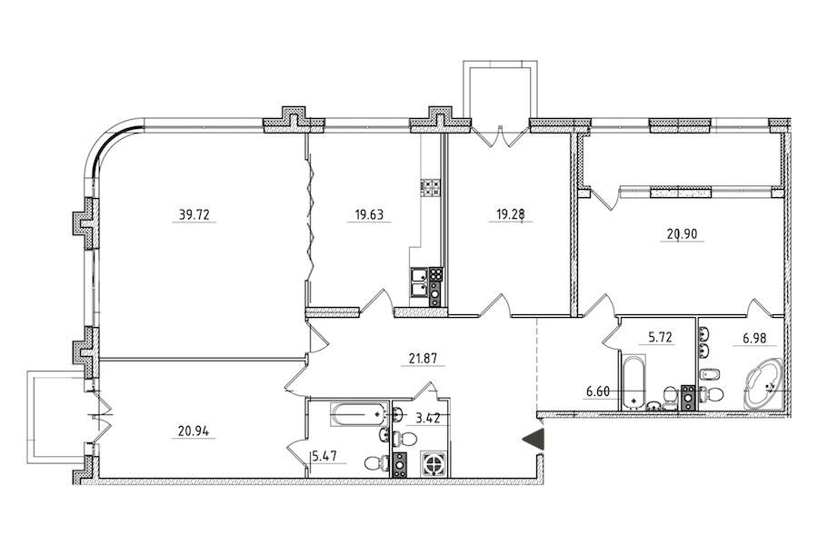 4-комнатная 177 м<sup>2</sup> на 5 этаже
