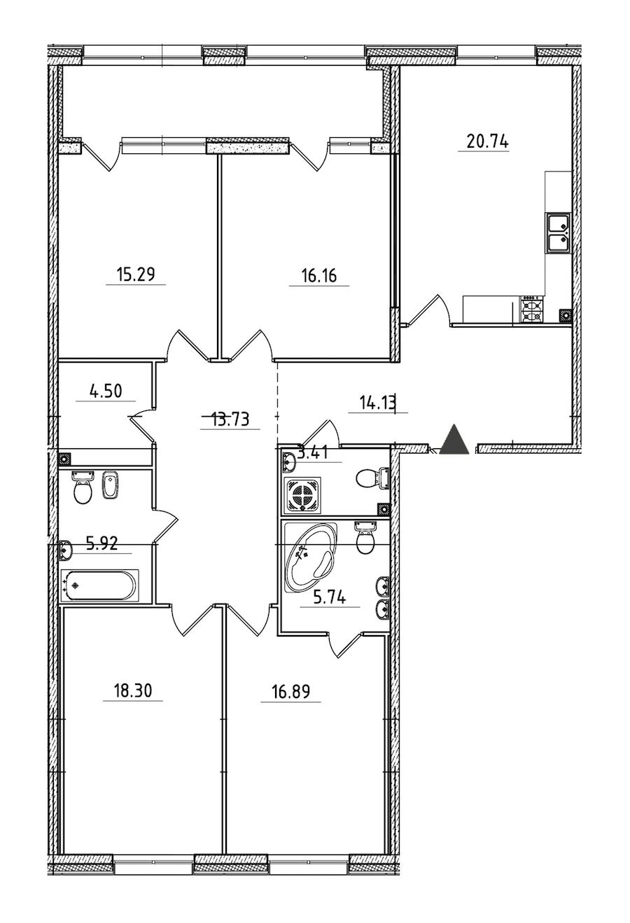 4-комнатная 140 м<sup>2</sup> на 2 этаже