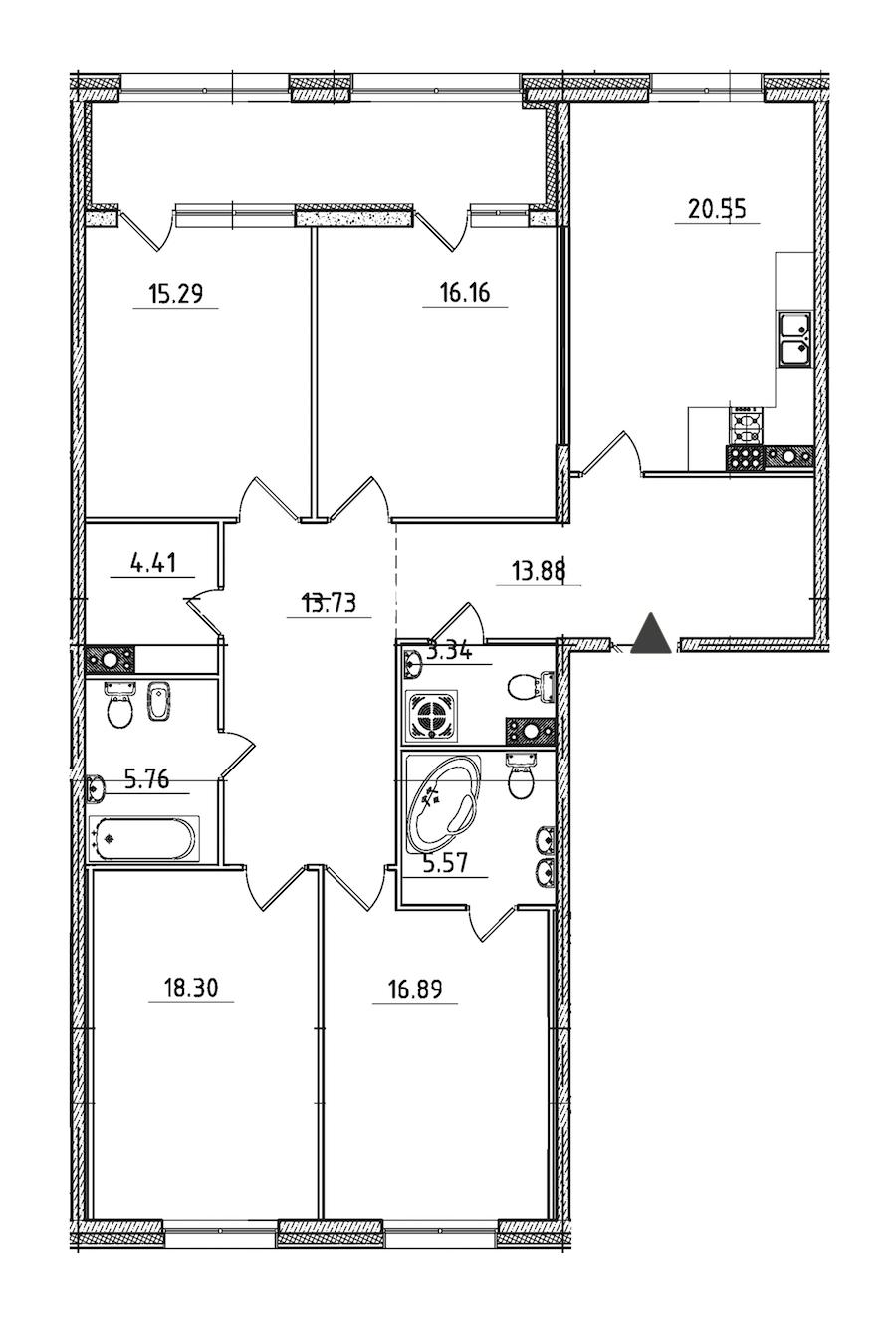 4-комнатная 139 м<sup>2</sup> на 7 этаже