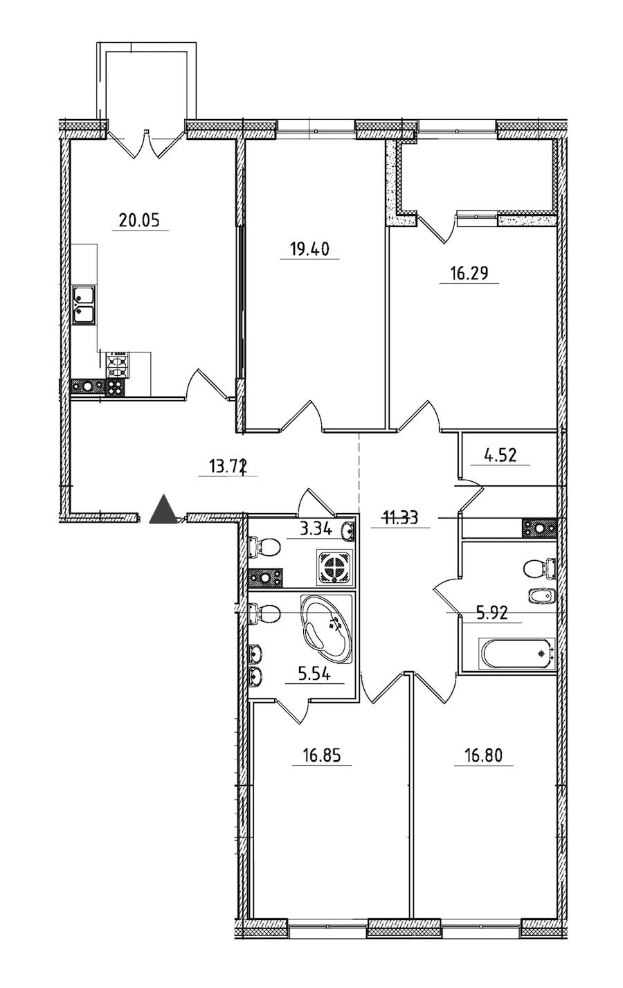 4-комнатная 137 м<sup>2</sup> на 5 этаже