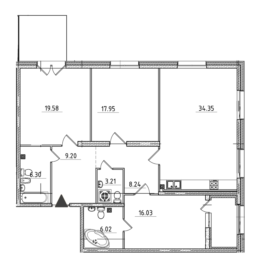 3-комнатная 125 м<sup>2</sup> на 2 этаже