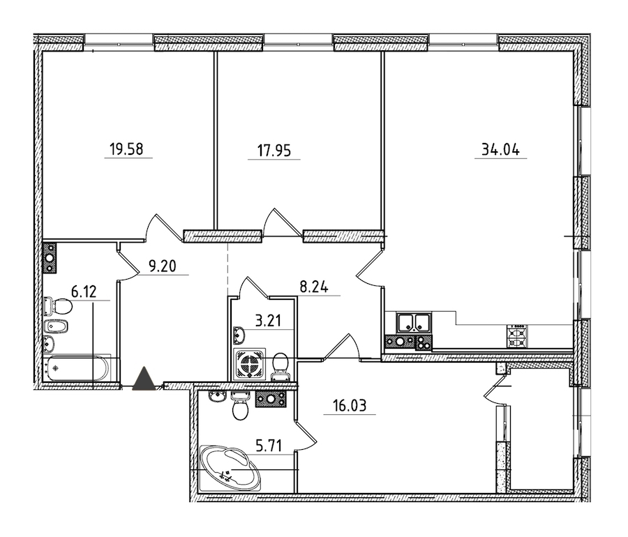 3-комнатная 122 м<sup>2</sup> на 4 этаже